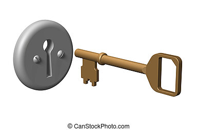 3D. Key - Key from a door keyhole. 3D model. Isolated on...