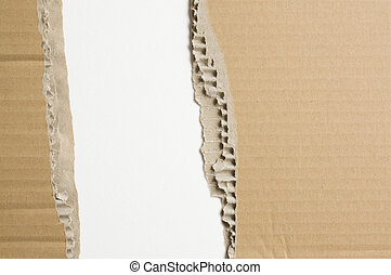 Tattered cardboard - The surface of the cardboard box.