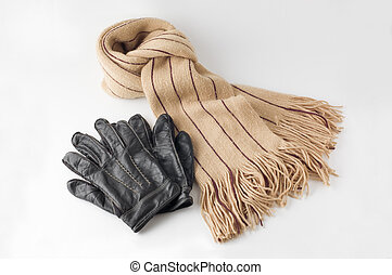 Warm scarf and glove. - Beige winter wool scarf and leather...