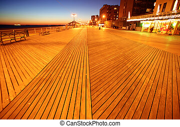 Classic NY - evening in Brighton Beach of Coney Island, USA