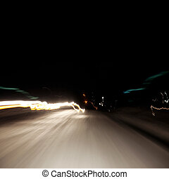 abstract light in the moment fast moving cars in the night