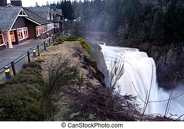 Lodge on the edge and Snoqualmie Falls near Seattle,...