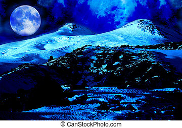 Moon night in Elbrus Mountain, point 4500 meters of above...