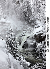 Falls in Yellowstone National Park in winter season, USA
