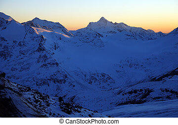 Sundown in mountains Elbrus area