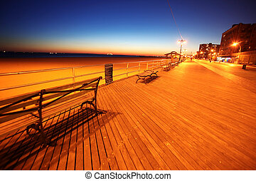 classic NY, evening in Brighton Beach of Coney Island