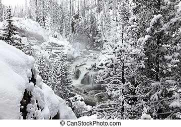 winter season at falls of Yellowstone National Park,  USA