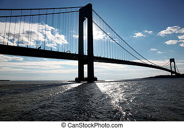 classical NY - silhouette of Verrazano bridge from Brooklyn...