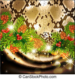 New Year Snake Background With Green Fir and Holiday...
