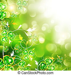 St.Patrick Over Bright Background - St.Patrick Floral With...