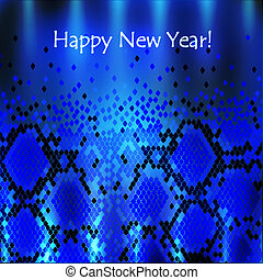 Snake New Year Background in Blue
