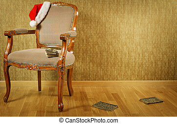 Santa's Armchair - Old Antiques Armchair With Santa's Hat...
