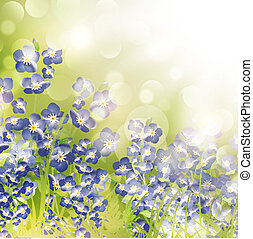 Forget Me Not Flowers Over Bright Background - Summer or...