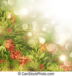 Fir Tree Over Bright Background - Fir Tree Brunches With...