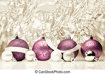 Christmas balls on vintage background - Decorative purple...