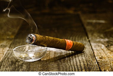 Burning luxury Cuban cigar - Burning handmade luxury Cuban...