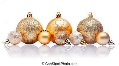 Gold Christmas baubles - A line of large and small gold...
