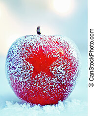 Frosted Christmas apple on snow - Frosted colourful ripe red...