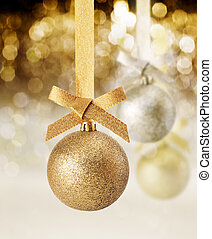 Glitter Christmas ornament and party lights - Hanging golden...