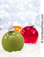 Winter snow and Christmas bauble