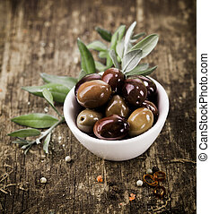 Bowl filled with black olives - Bowl filled with freshly...