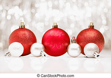 Christmas baubles with bokeh of party llights - Background...