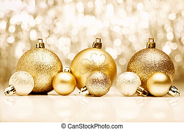 Golden Christmas baubles - An arrangement of golden...