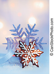 Gingerbread Christmas snowflake - Decorative iced...