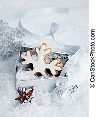Christmas snowflake in a gift box