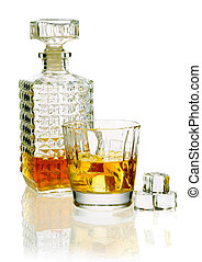 Whiskey decanter and glass - Whiskey or brandy decanter with...