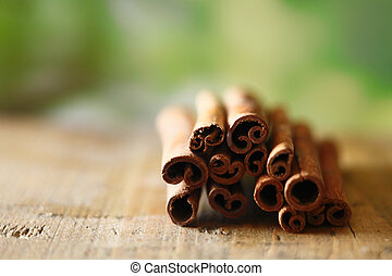 Dried spicy cinammon sticks - Closeup of a bunch of dried...