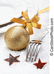 Christmas winter place setting