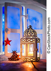 Christmas lantern in window - Christmas lantern with a...