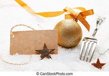 Festive place setting with gift tag