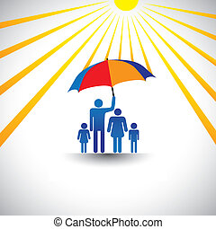 Father protecting family from hot sun with umbrella The...