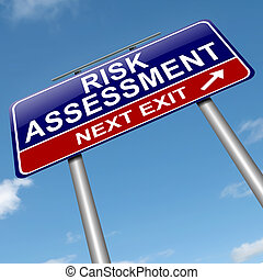 Risk assessment concept - Illustration depicting a roadsign...
