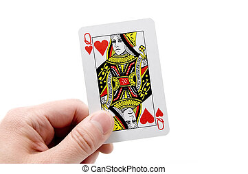 playing card - Male hand with playing card.
