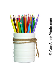 A stack of pencil color on white background