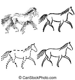 set  horses outlines. vector collection