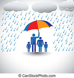 Father protecting family from heavy rain with umbrella The...