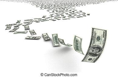 Falling Dollars - Falling dollars on white background...