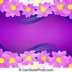 pink flowers border on dark magenta background