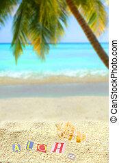 tropical aloha - aloha on a mound of sand on a hawaiian...