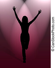 Happy woman - A woman jumping for happiness in the light