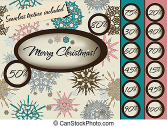 Marry Christmas poster with seamless texture. - Marry...
