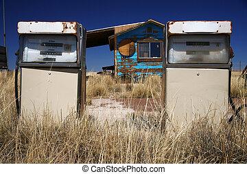 rusty abandoned vintage USA gas station
