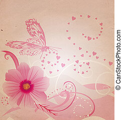 old paper picture with flowers and pink butterfliy