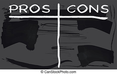Pros and Cons - A worn out old blackboard with the chalk...