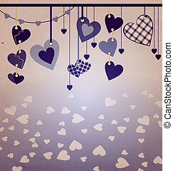 blue colors hanging hearts old paper