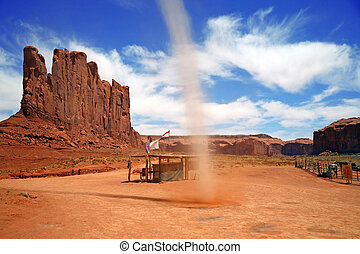 little tornado in Monument Valley, Navajo Tribal Park,...